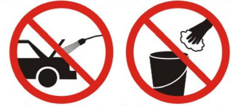 mootoripesu ja käsitsipesu keelatud